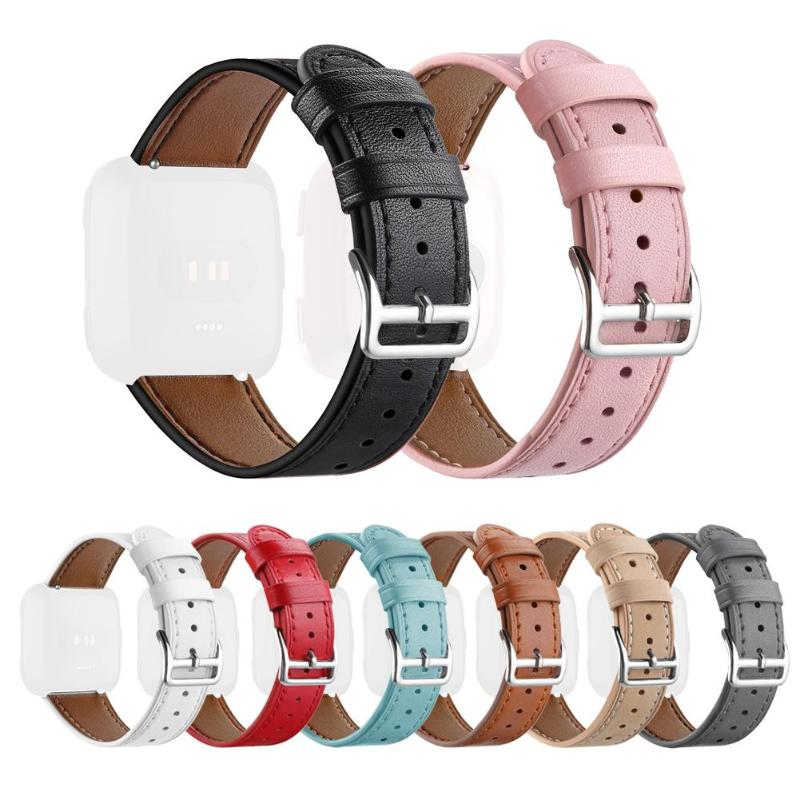 ALLOYSEED 1Pcs Classic Leather Adjustable Watchband Bracelet Wrist Strap Replacement for Fitbit Versa Smart Watch Watch Band