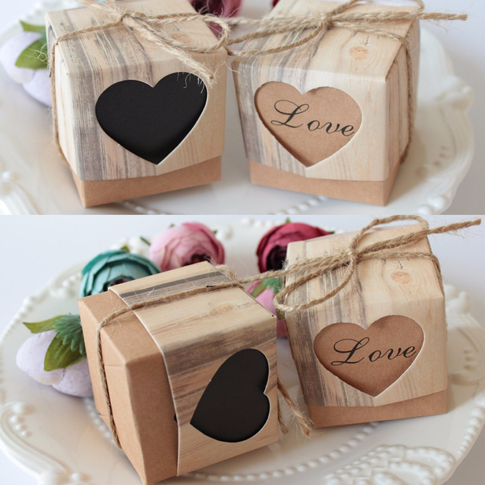 wholesale wedding favors box chic love candy box hessian heart candy box for wedding decoration vintage