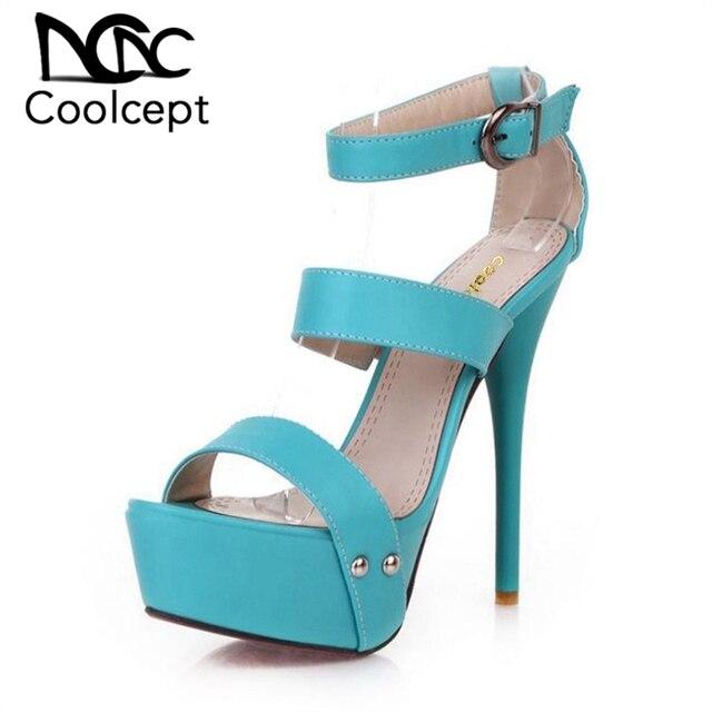 0a2f4cf31bc Coolcept women ankle strap stiletto leopard platform high heel sandals sexy  ladies heeled footwear heels shoes size 34-43 P16785