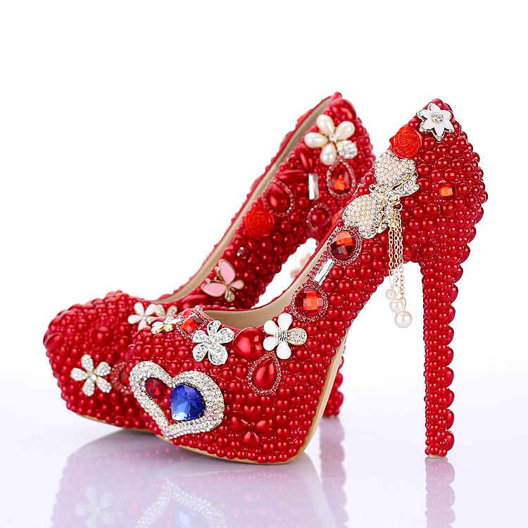 2016 spring Red pearl thin heels platform shoes formal dress shoes shallow mouth round toe party shoes bride wedding shoes