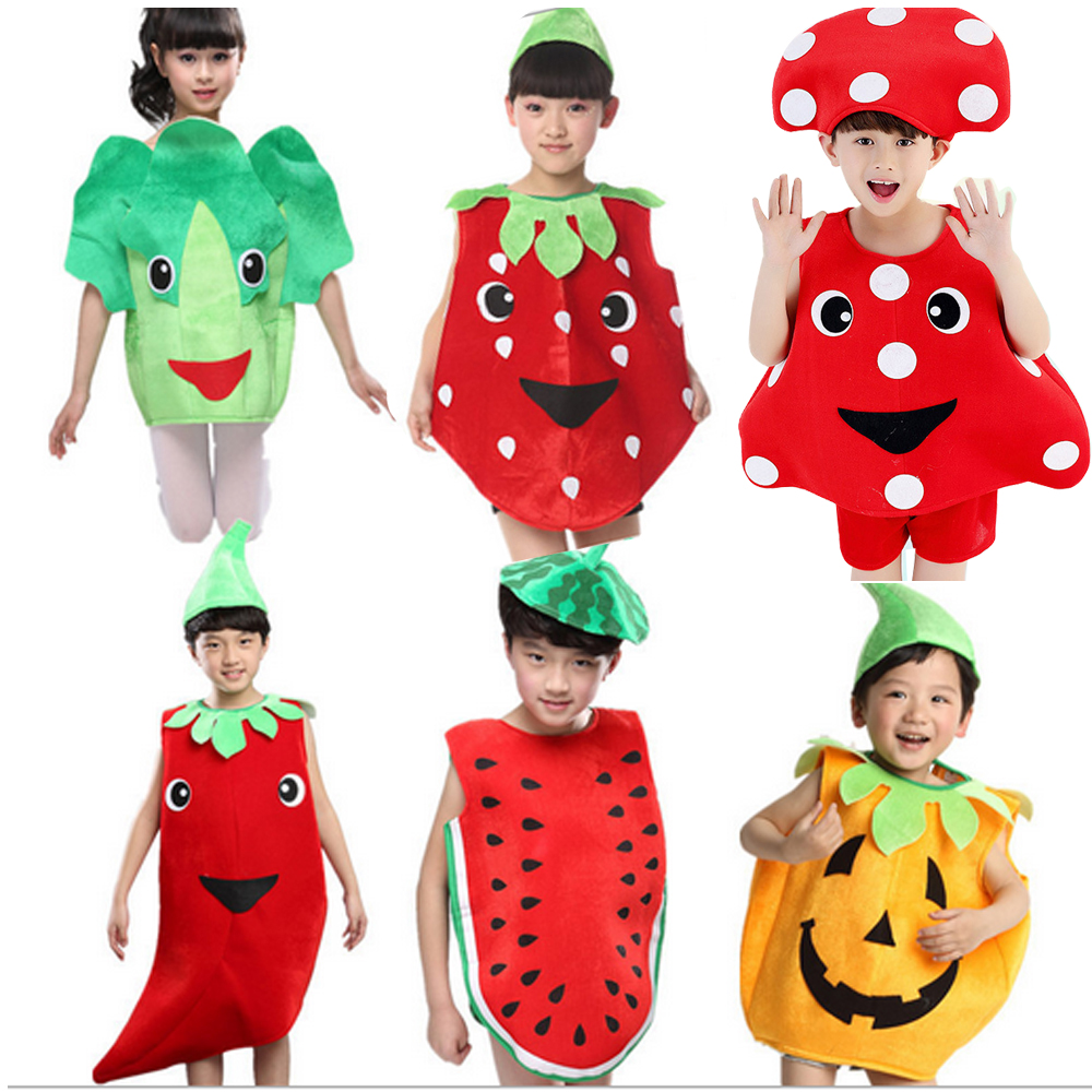 Bazzery vegetable / fruit  cosplay clothes for children from 110-160cm girls boys stage perform costumes for Christmas New Year
