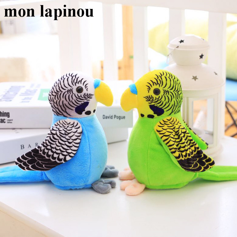 18cm Electric Talking Parrot Toy Cute Speaking Record Repeats Waving Wings Electroni Bird Stuffed Plush Toy Kids Birthday Gift