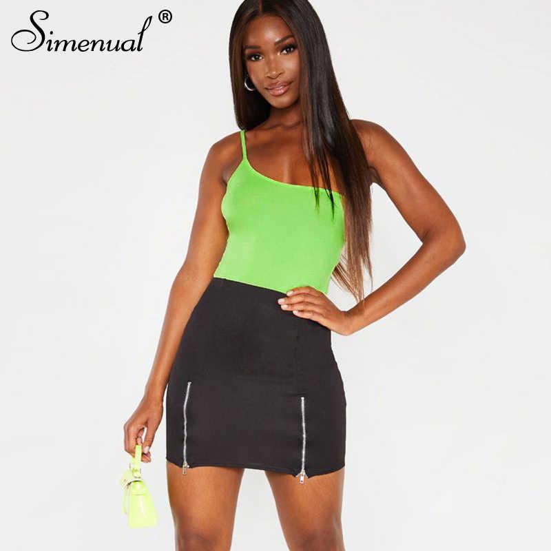 Simenual одно плечо ремень сексуальное боди для женщин одноцветное без рукавов комбинезон летний, из одного предмета Горячие облегающие костюмы Мода