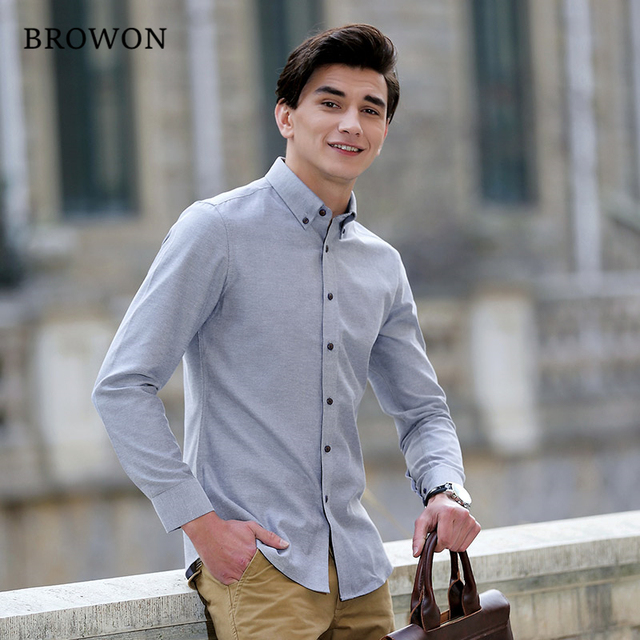 Aliexpress Com Buy Browon New Brand Men Oxford Shirt Long Sleeve