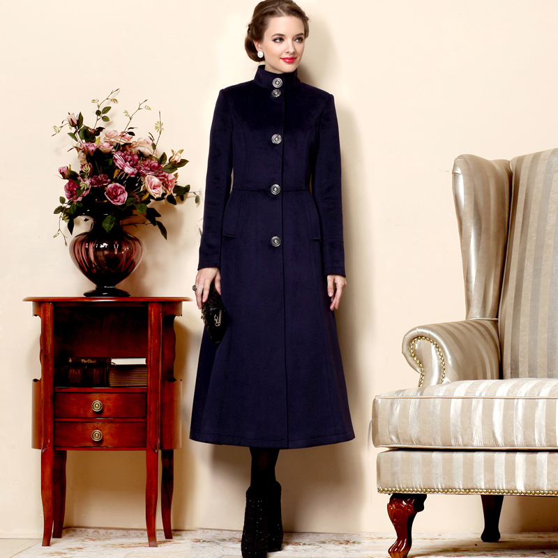 Laine Couleur Hiver Mode Boutonnage 2016 Simple Femmes Outwear À Long Grande Taille En Unie Manteau Nouvelle Col Deep Montant Veste Blue Arrivée z44xBgv