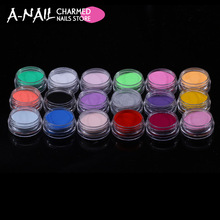 18boxes set 18 Colors Acrylic Glitter Powder Liquid Nail Glitter Dust Gem Nail Tool Excellent UV