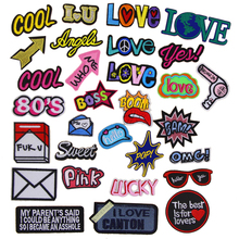New arrival 10 pcs Love Lucky Pink Boss Cool Sweet embroidered patch iron on Motif Applique Fabric cloth hat bag shoe accessory(China)