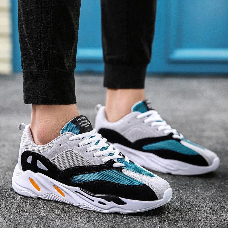 O Pai do vintage Homens Sapatos 2019 Moda Kanye West Luz Malha Respirável Homens Tenis Sapatos Casuais Homens Sapatilhas Zapatos Hombre #700