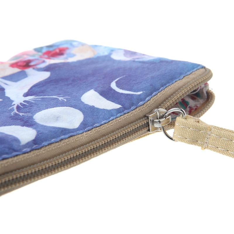 Women Canvas Wallet Small Bags Zip Card Coin Holder Purse Phone Pouch