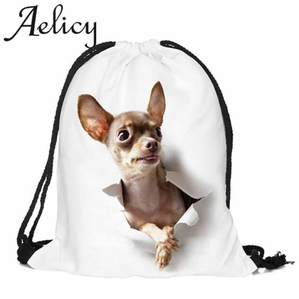 Aelicy 2018 bag Women Men Polyester Unisex 3D dog Printing Backpack Hand Small Port Storage Bag Gift Travel Bag