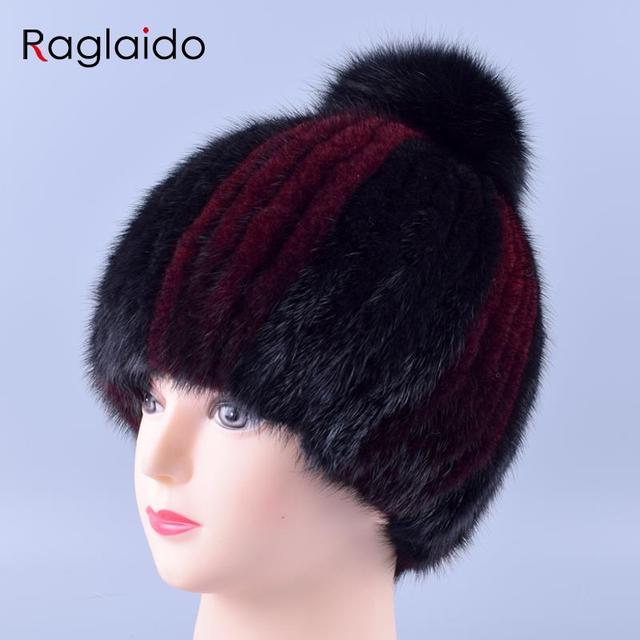 12 cores Genuine Mink Fur Pompom Hat Caps para Mulheres Mão de Malha Gorro De Pele Real de lã interior Inverno Chapéus Neve Caps Quentes LQ11153