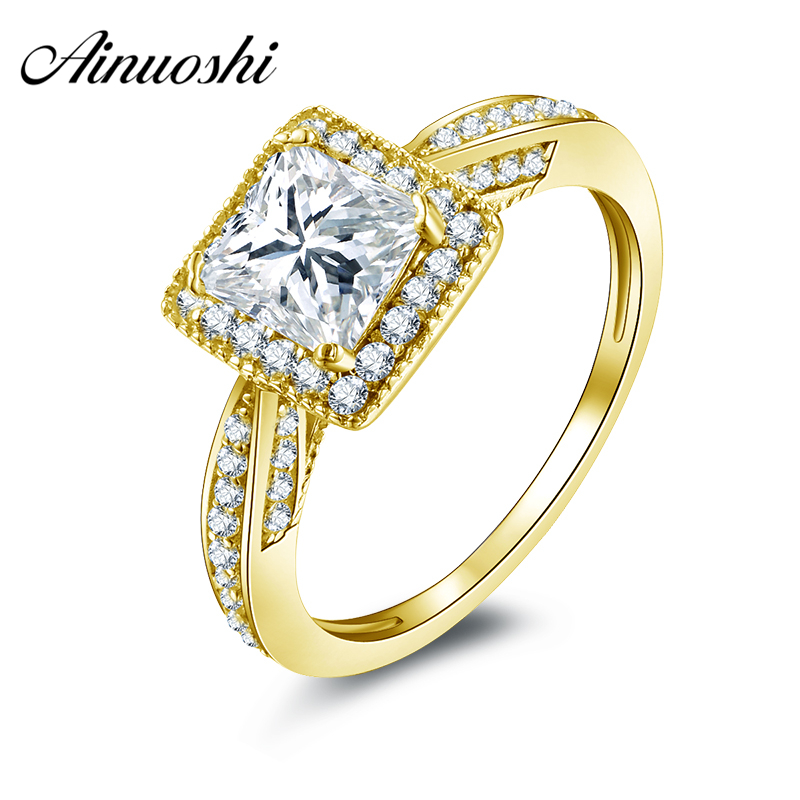 AINUOSHI 10k Solid Yellow Gold Wedding Ring 1.25 CT Princess Cut CZ Halo Band Ring Engagement for Women Anniversary Presnt