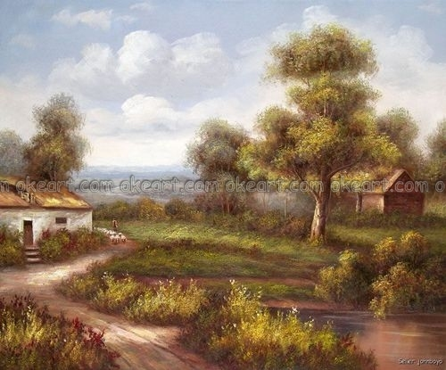 100% Hand Painted Country Landscape Art Home Oak Trees