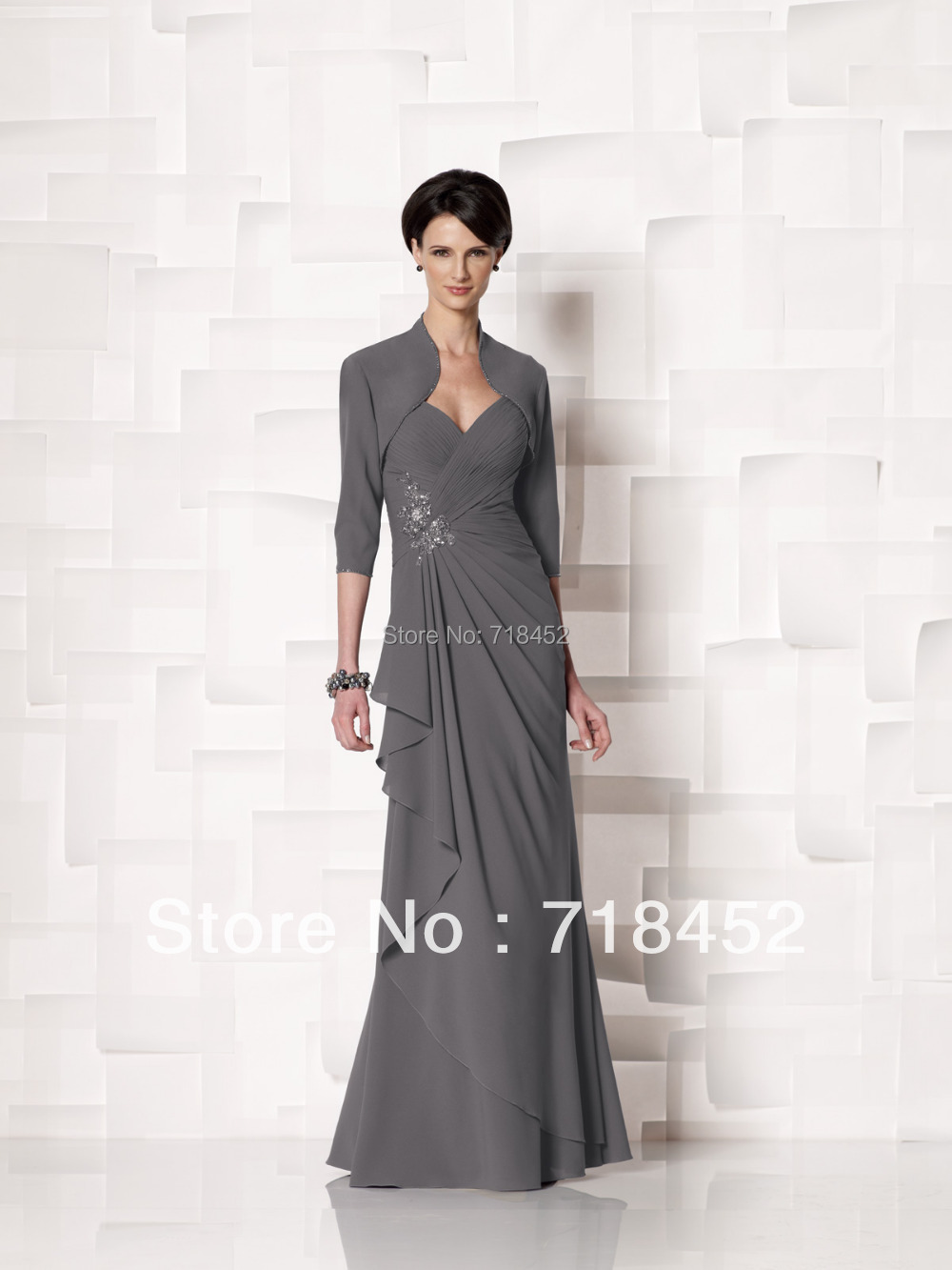 Grey Chiffon Mother Of The Bride Pant Suit Dress Luxury