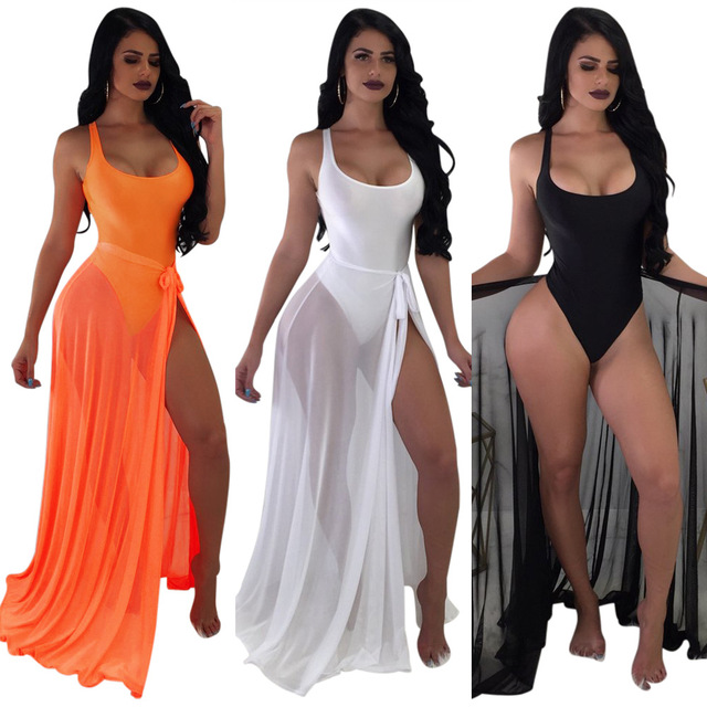 c95ed4109f IASKY 2PCS/SET One Piece Swimsuit+cover up skirt 2018 sexy women backless  swimwear Monokini cover ups set 3 colors