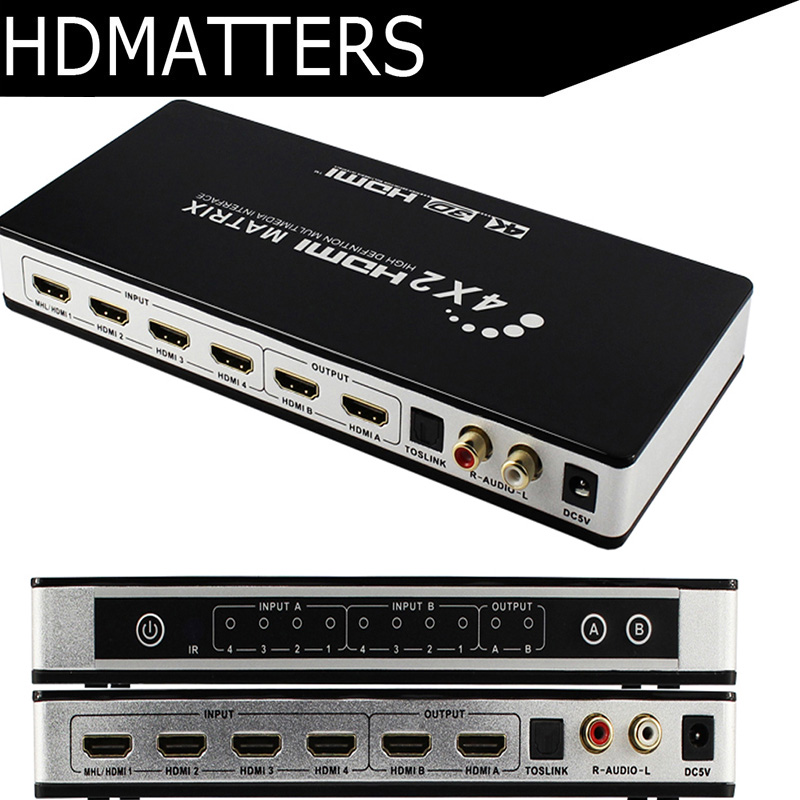 HDMI Matrice 4X2 Commutateur Splitter avec toslink et stéréo audio 4 k X 2 k/30 hz pris en charge