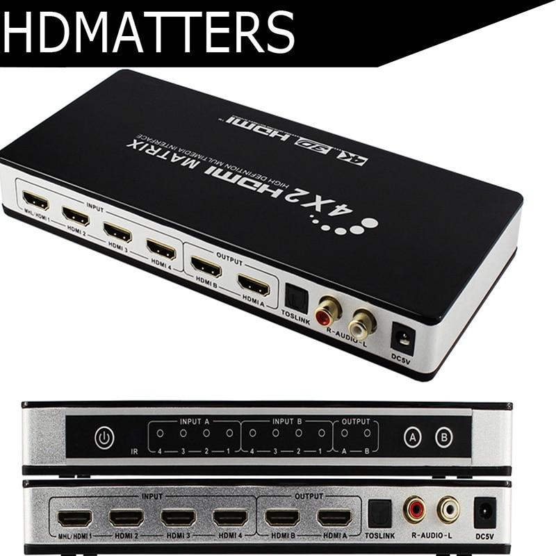 Interruptor Splitter HDMI Matrix 4X2 com toslink & áudio estéreo 4 k X 2 K/30 HZ suportado
