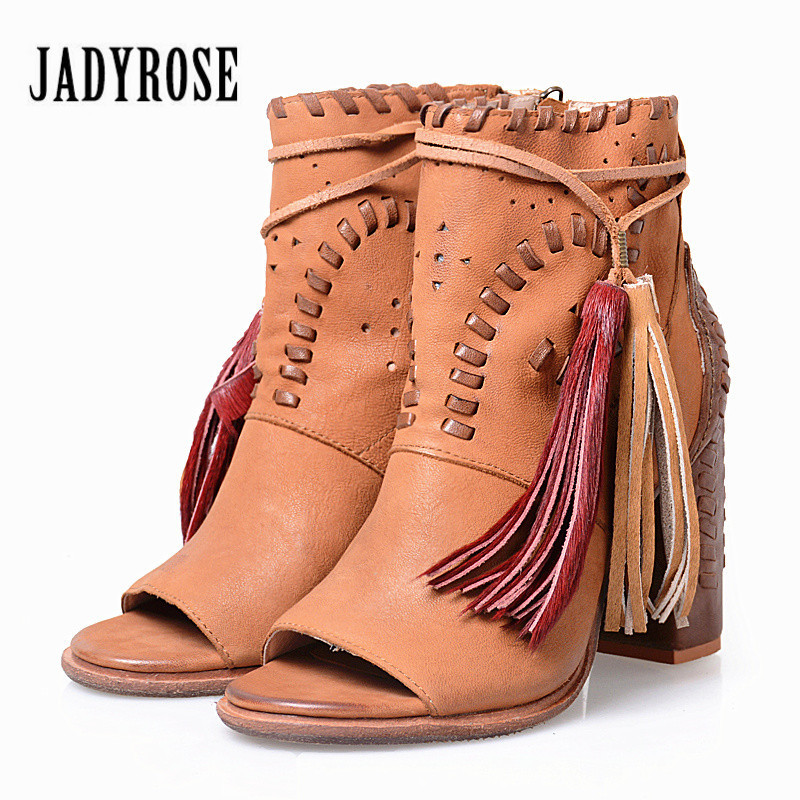 Jady Rose Designer Women Hollow Out Summer Boots Peep Toe Ankle Booties Chunky High Heels Fringed Women Platform Pumps designer luxury designer shoes women round toe high brand booties lace up platform ankle boots high quality espadrilles boot