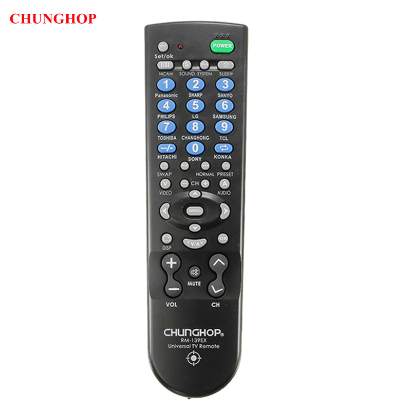 CHUNGHOP RM139EX Learning Remote Control Universal Replacement For TV Set chunghop l102 universal single 11 key learning ir remote control silver white 2 x aaa