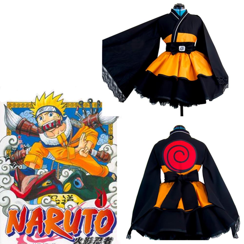 Naruto: Shippuden Costumes Akatsuki lolita Skirts Uzumaki Naruto Lolita kimono dress Cosplay Halloween ladies party uniform