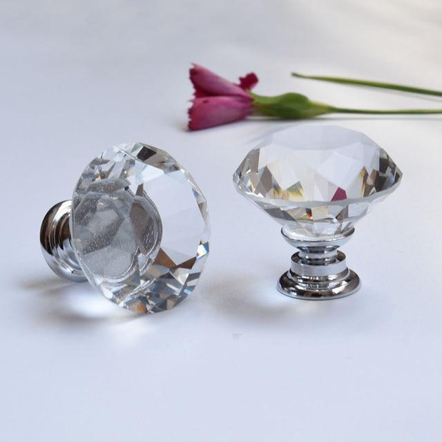 30mm Flache Runde Kristallglas Kabinett Knöpfe Schrank Schublade ...