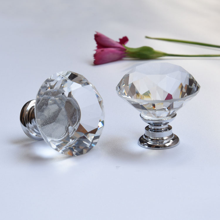 30mm Flat Round Crystal Glass Cabinet Knobs Cupboard
