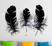 Feathers Wall Decal Vinyl Stickers Bird Plumage Patterns Home Interior Design Art Murals Bedroom Wall Decor