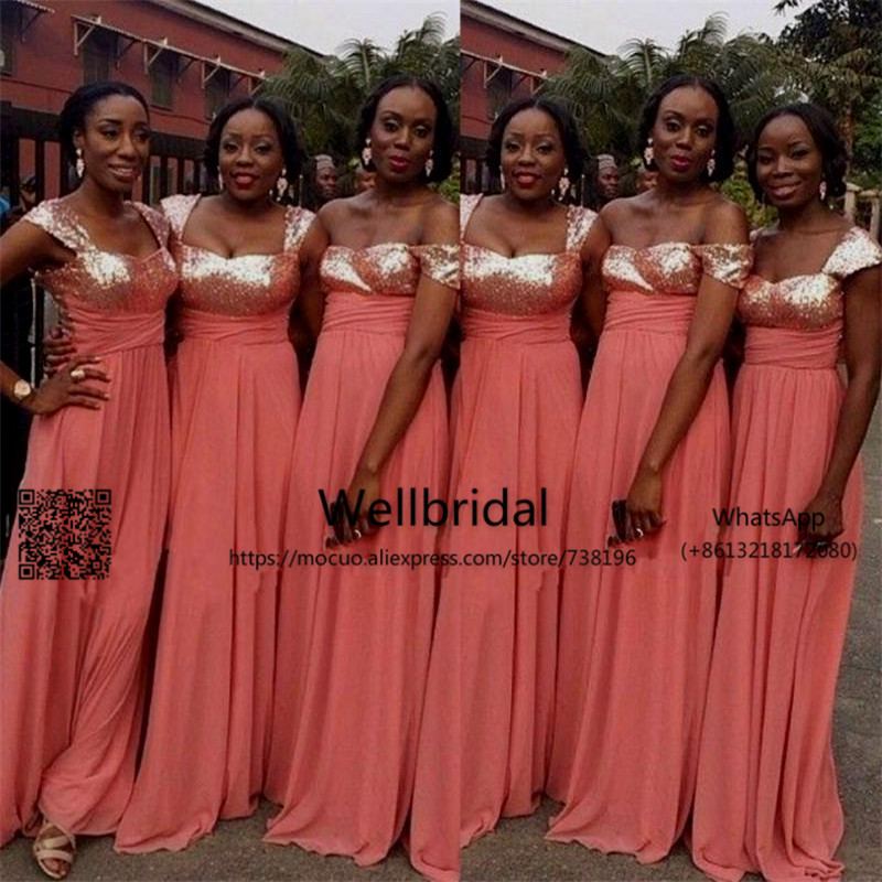 Popular 2017 African   Bridesmaids     Dresses   Long with Sequined Chiffon Wedding Party   Dress   Straps Maid of Honor   Dresses