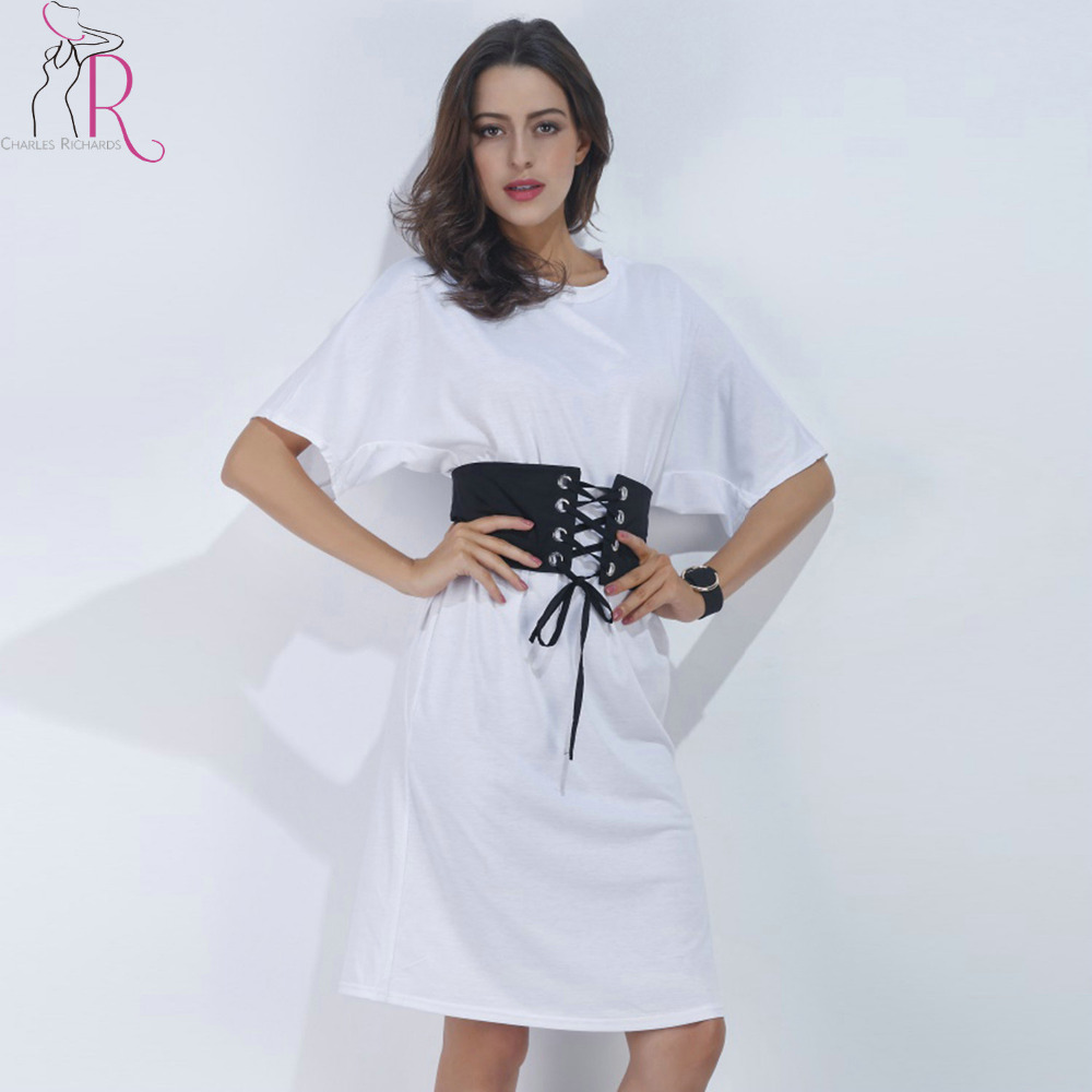 73df0ee043d7 White Short Sleeve Corset Belt Casual T-shirt Dress 2017 Summer Women Loose  Round Neck Cotton Loose Mini Tee Dresses