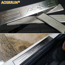 AOSRRUN Free Shipping stainless steel scuff plate door sill 4pcs set car accessories for Mitsubishi ASX