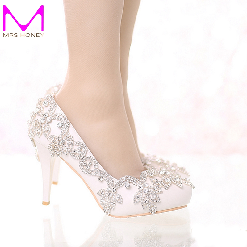ФОТО Exquisite Rhinestone Bridal Shoes Pointed Toe and Round Toe Platform White Color Wedding Shoes with Silver Rhinestone Prom Pumps