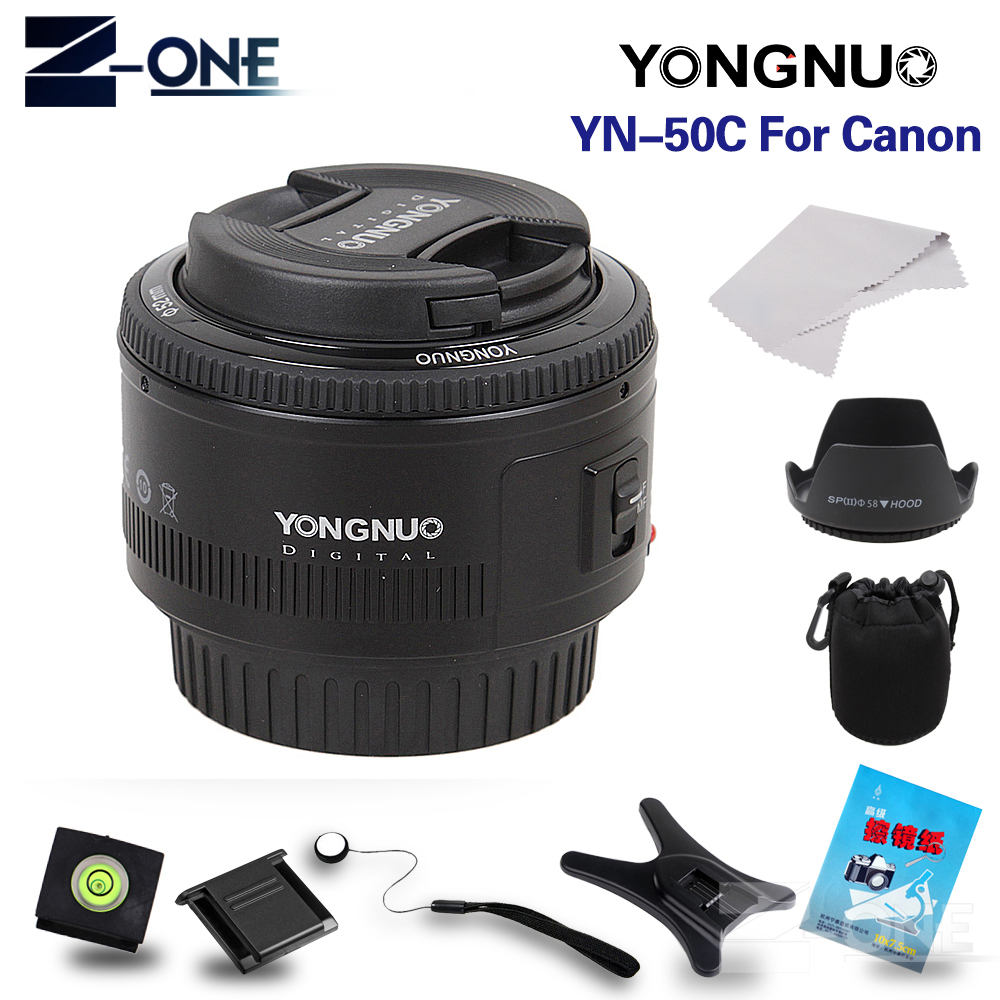 YONGNUO YN 50mm Lens fixed focus lens EF 50mm F/1.8 AF/MF lense Large Aperture Auto Focus Lens For Canon DSLR Camera yongnuo yn 50mm lens fixed focus lens ef 50mm f 1 8 af mf lense large aperture auto focus lens for canon dslr camera pouch bag