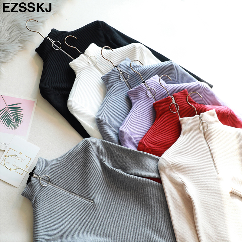 casual Zipper Sweater Women Turtleneck Solid spring autumn female Knitted sweater Pullovers long Sleeve chic Soft