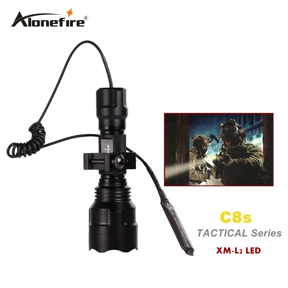 C8 Tactical Gun Flashlight Torch 2200LM CREE XM-L2 LED 5 Modes LED Flash Light Lanterna+gun scope bases Mount+remote switch 3800lm cree xm l t6 5 modes led tactical flashlight torch waterproof hunting flash light lantern zaklamp taschenlampe torcia
