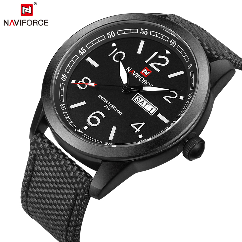 NAVIFORCE Original Luxury Brand Sports Military Quartz Watch Man Analog Date Clock Nylon Strap Wristwatch Relogio Masculino