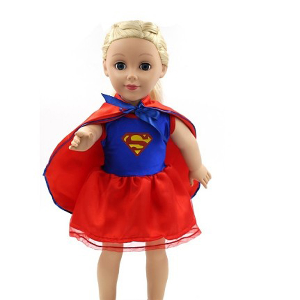 American Girl Doll Clothes Superman Cosplay Costume Doll Clothes for 18 inch Dolls Baby Doll Accessories american girl doll clothes halloween witch dress cosplay costume doll clothes for 16 18 inch dolls madame alexander doll mg 256