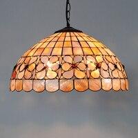 16 Zoll Europäischen Kunst Tiffany Pendelleuchte Studie Bar Cafe Dekorative Shell Leuchten Lamparas Glanz Hängen Licht E26/E27 PL583