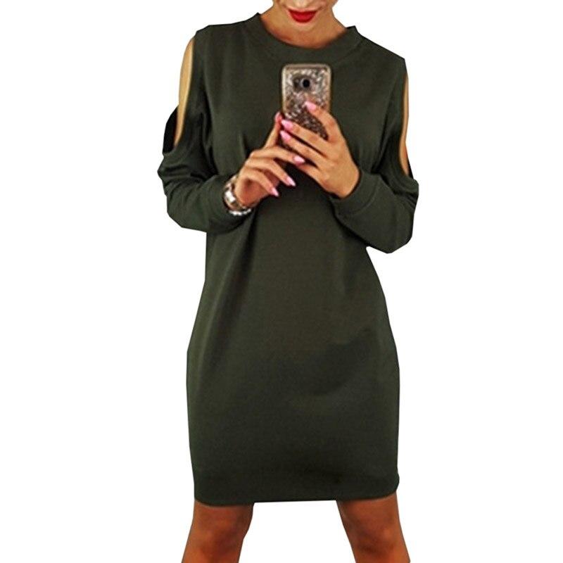 2018 Plus Size Women Fashion Clothing Casual Dresses Soft Crossed Dresses Cold-shoulder Brief Women Dress