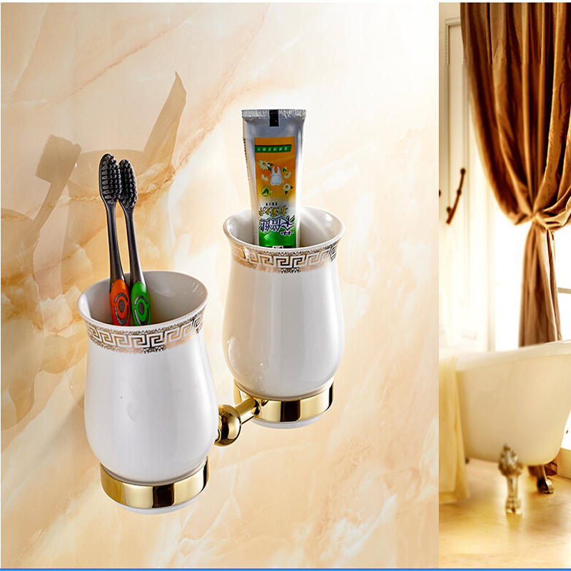 Wholesale And Retail Golden Brass Diamond Ceramic Base Tooth Brush Cup Holder Tumbler Holders With Dual Ceramic Cups oil rubbed bronze bathroom tooth brush holder dual ceramic cups crystal holder