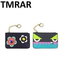 Neue 2016 design nette mini monster frauen PU leder schlüsselmappe lady trendy blume ohrstecker geldbörsen kartenbrieftaschen für weibliche qn033