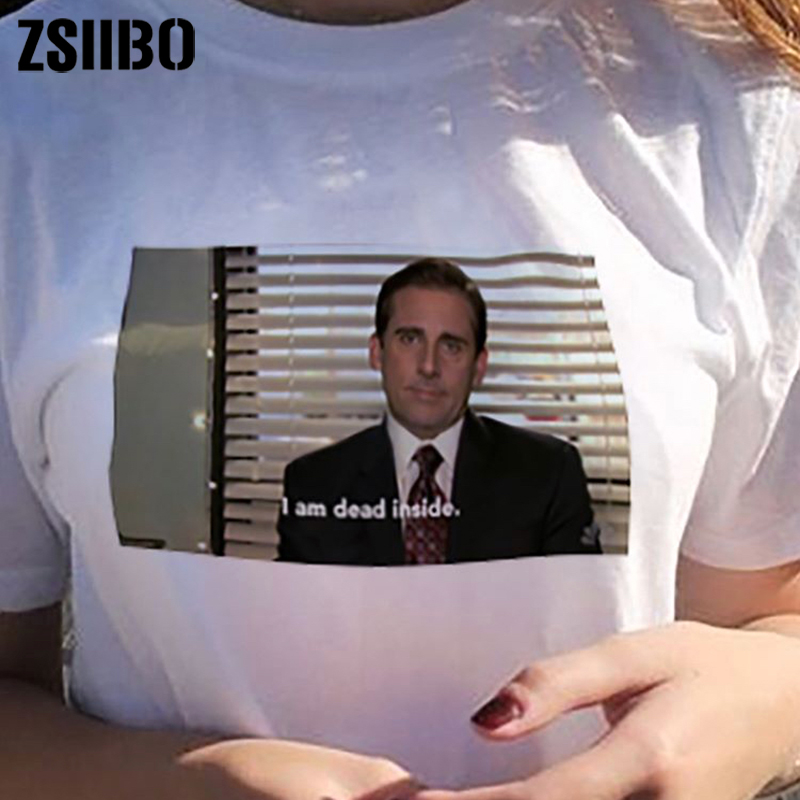 00d4d3f1c I Am Dead Inside Quotes Funny t shirt The Office Michael Scott T Shirt  Unisex Tumblr Grunge Fashion White Tee dro shippping-in T-Shirts from  Women's ...