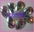 Frete Grátis 10.5x18mm cristal sew em strass crystal clear cor 2 furos lágrima Sew Apartamento de volta em pedras base de prata