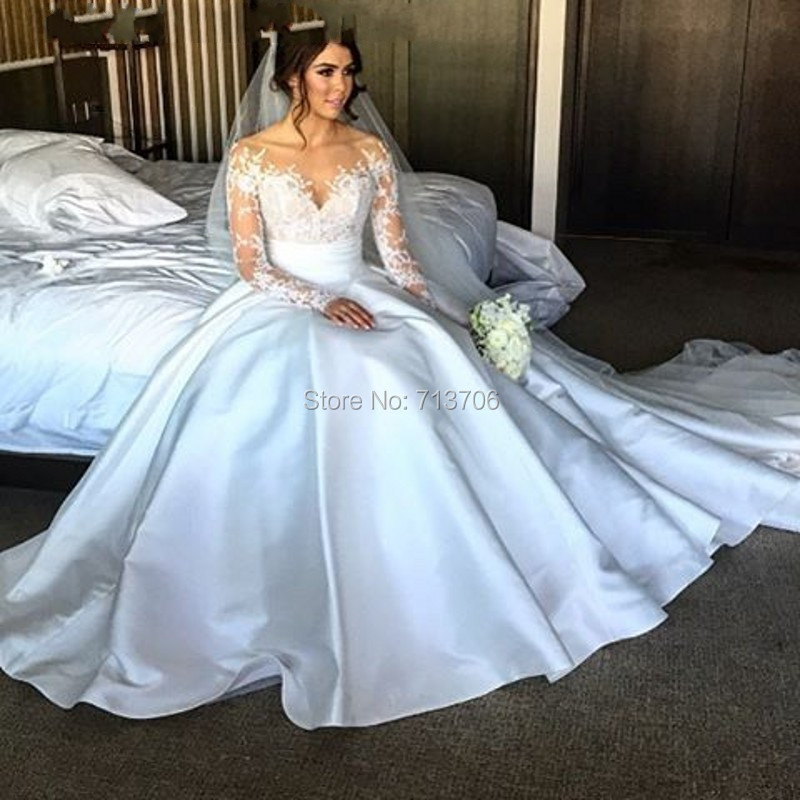 Menoqo 2017 Ball gown Satin wedding dress applique Lace long sleeve ...