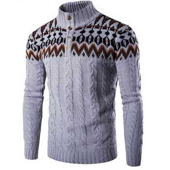 NIBESSER męska Swetry Z Długim Rękawem Stanąć Kołnierz Moda męska Sweter Mężczyzna Dorywczo Sweter Przycisk Wątek Mężczyzna Druku Sweter