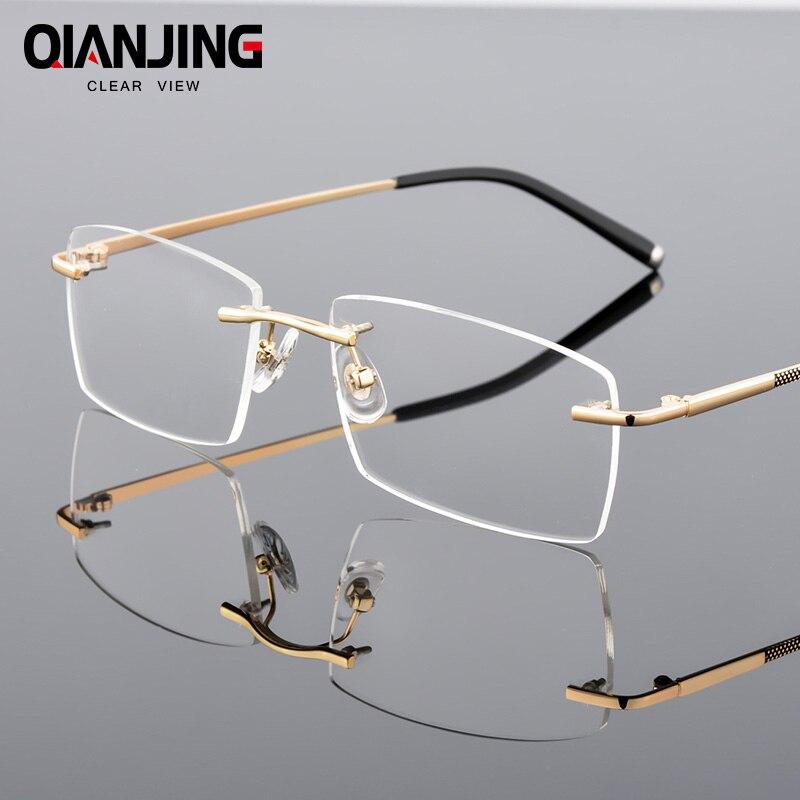 QianJing Alloy Rimless Optical Eyeglasses Rimless Spectacle Frame Men Gents Frameless Clear Glasses Gold Prescription Eyewear