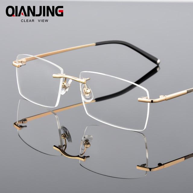 48b3e00f6ede QianJing Alloy Rimless Optical Eyeglasses Rimless Spectacle Frame Men Gents  Frameless Clear Glasses Gold Prescription Eyewear