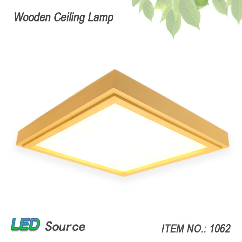 Japanese Style Tatami Wood Ceiling and Pinus Sylvestris Ultra-thin LED 30/33/43cm Wooden Lamp Square Fixture