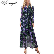 Vfemage Womens Elegant Tie Neck Puff Sleeves Floral Flower Printed Chiffon Elastic Waist Casual Party A-Line Maxi Long Dress 817(China)