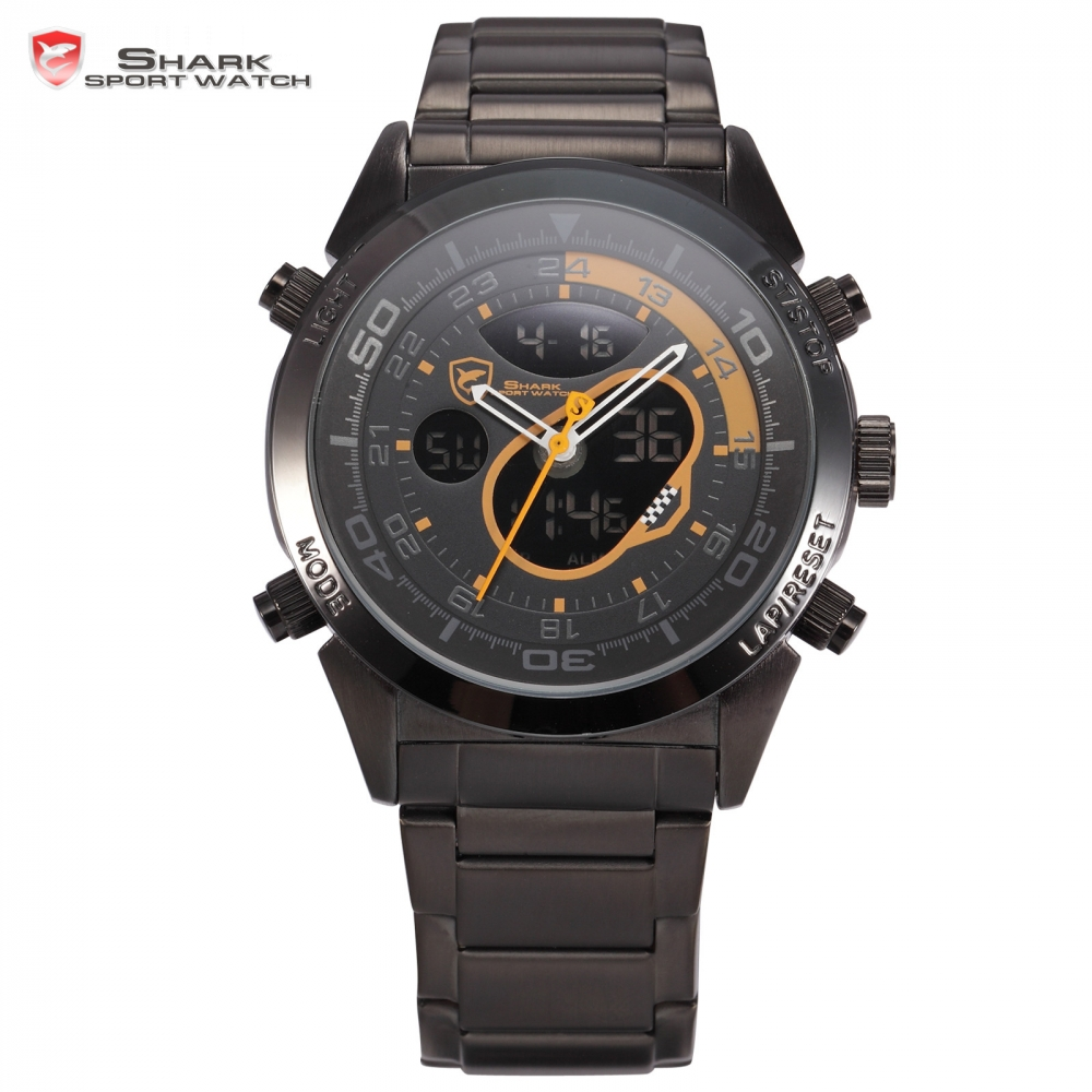 Snapper Shark Sport Watch Dual Movement Black Orange Alarm Stopwatch Calendar Multi-Function Sport Men Quartz Wristwatch / SH142 шейкер sport elite sh 300 850ml black