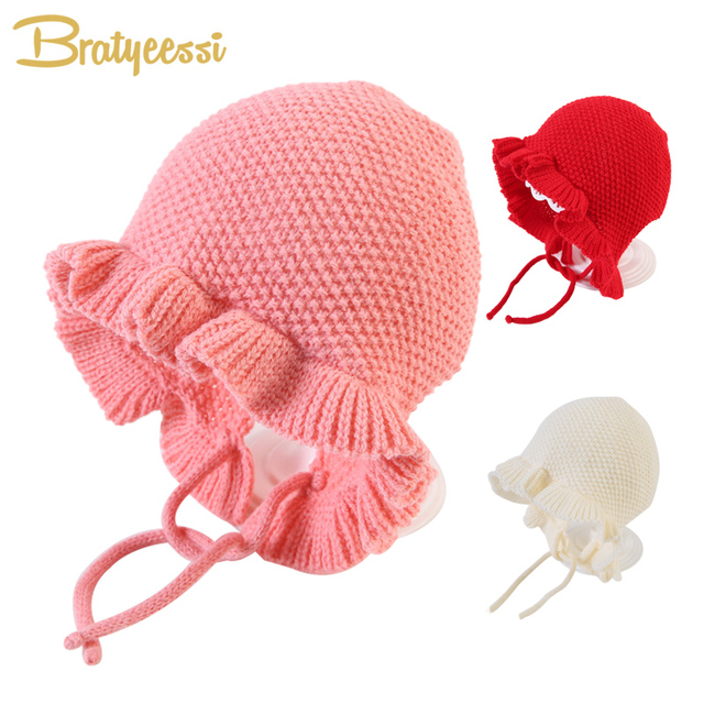 Princess Winter Baby Hat for Girls Ruffles Cotton Knitted Bonnet Enfant Cap  Kids Accessories Baby Girl 34fac0ed7d6